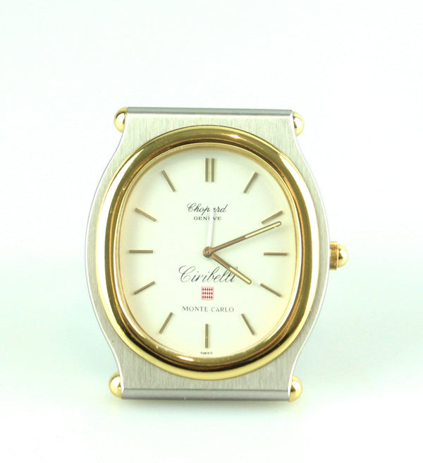 Chopard Monet Carlo Mini Gold And Brushed Steel Travel Alarm Clock