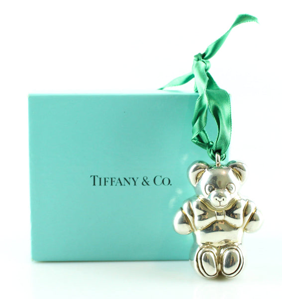 "Tiffany Sterling Silver Bear Ornament Collectible 3.5"" 1990"
