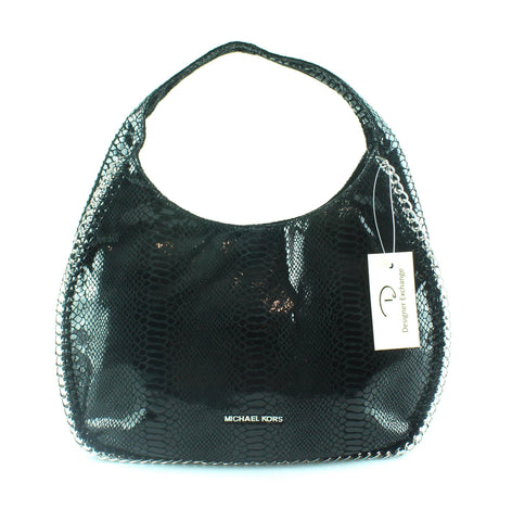 Michael Kors Black Faux Snake And Silver Chain Detail Hobo