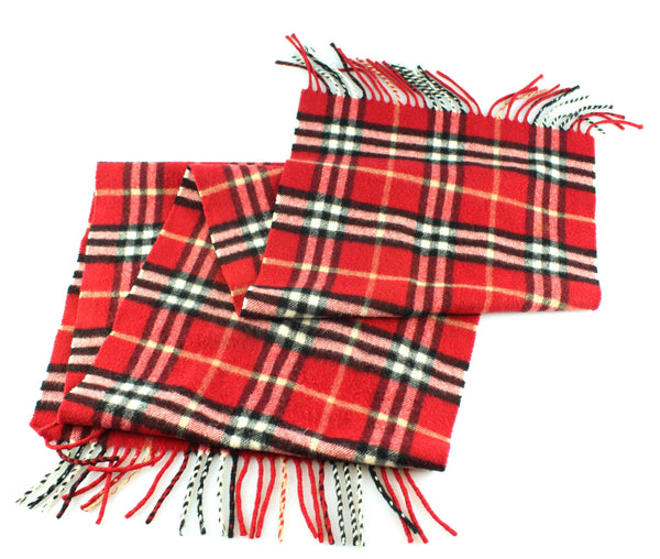 Burberry Red Heritage Check Cashmere Scarf