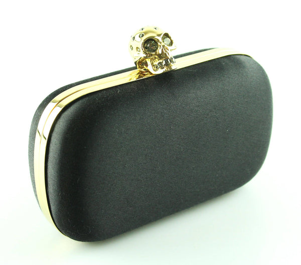 Alexander McQueen Skull Box Clutch Black Satin