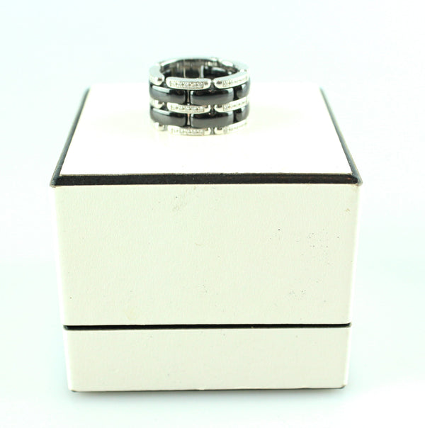 Chanel Ceramic Black 18k White Gold Band With Diamonds Ultra Ring M