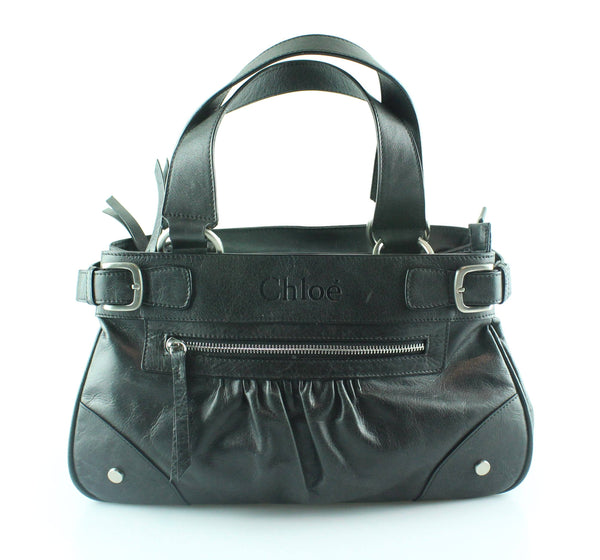 Chloe Black Leather Zip Detail Shoulder Bag