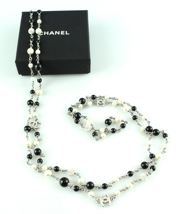 Chanel 2011B Double Strand Diamante CC Costume Beads And Pearls