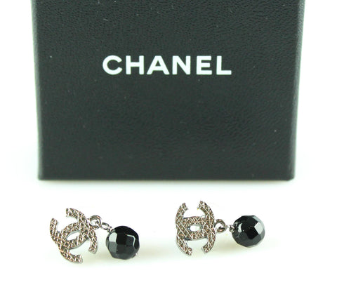 Chanel 2011 Gunmetal CC And Dangled Bead Earrings