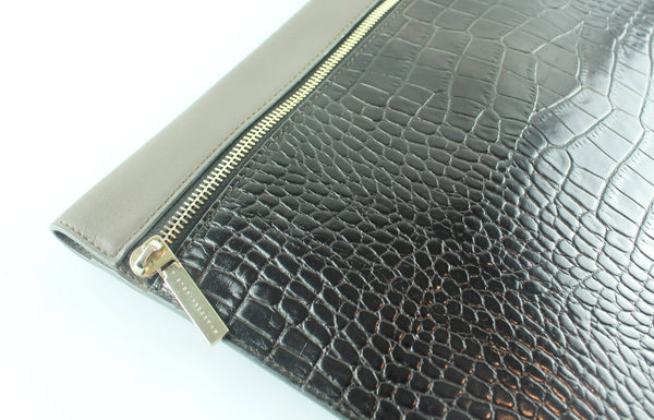 Victoria Beckham Large Zip Pouch Printed Croc And Calf Leather Mushroom