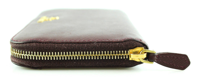 Prada Bordeaux Saffiano Leather Zip Around Wallet