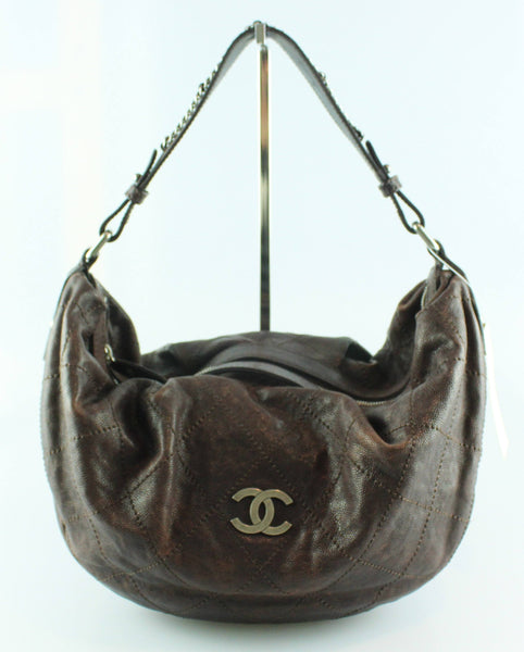 Chanel Brown Outdoor Ligne Caviar Hobo 2005/06