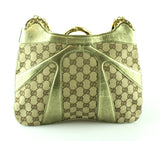 Gucci GG Canvas Gold Leather Bamboo Chain Shouler Bag