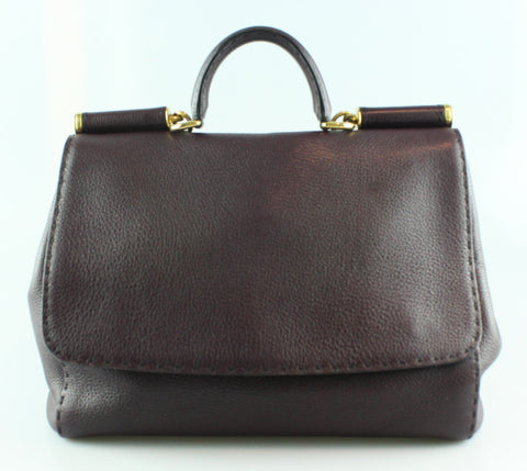 Dolce And Gabbana Miss Sicily Large Aubergine Shoulder Bag