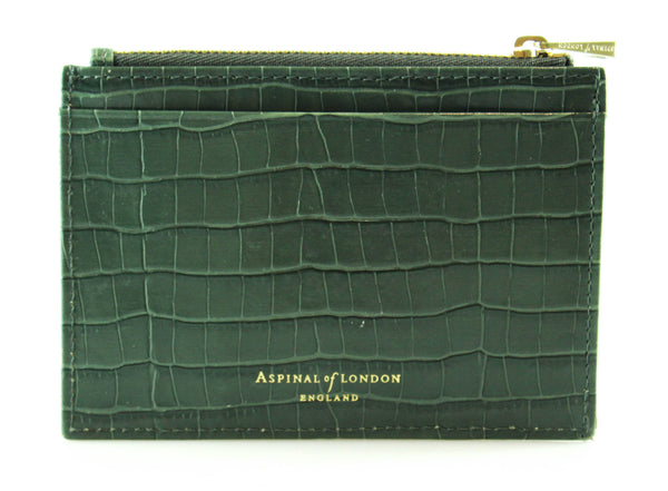 Aspinal Of London Green Croc Embossed Zipped Card Wallet