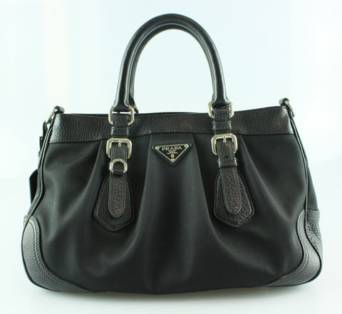 Prada Nylon And Calf Leather Top Handle Buckle Bag