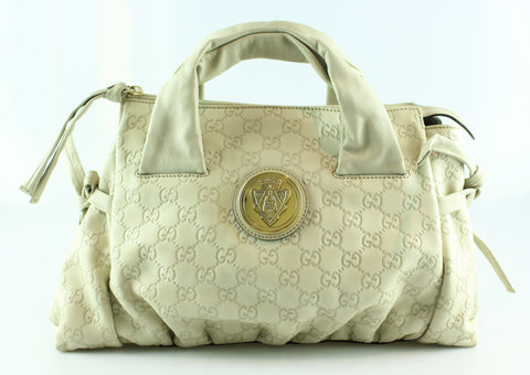 Gucci Guccisima Hysteria Top Handle Tote Med Off White