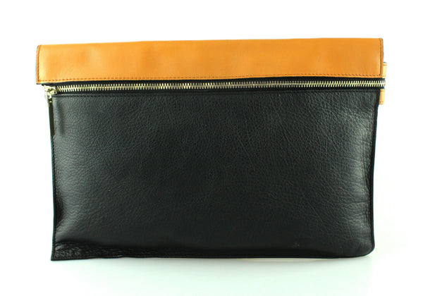 Victoria Beckham Large BiColour Zipped Pouch Tan/Black
