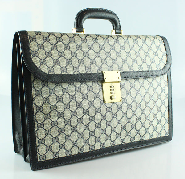 Gucci Vintage GG Navy Leather Trim Briefcase