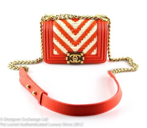 Chanel Vermilion Lambskin / Chevron Raffia Panel Micro Boy GH (Sample)
