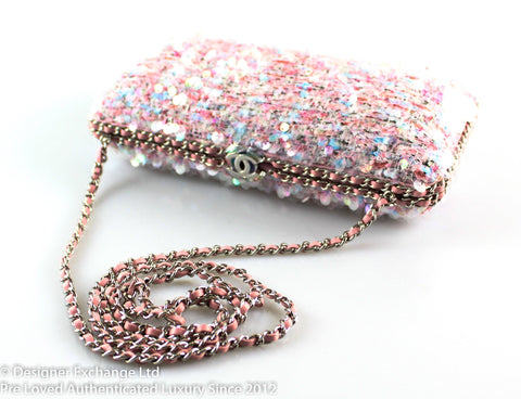 Chanel Pink Tweed And Iridescent Sequins Box Clutch With Long Strap (Sample)