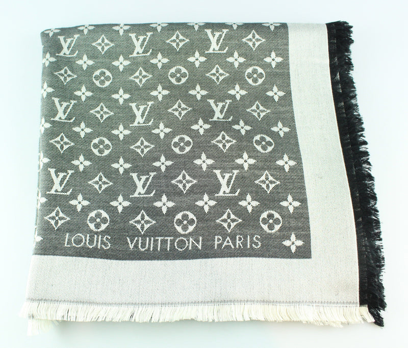 Louis Vuitton Grey/Silver Monogram Shawl 60% Silk 40% Wool