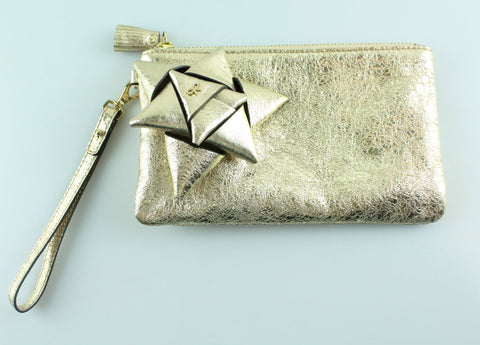 Anya Hindmarch Scrooge Gold Metallic Clutch