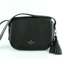Kate Spade Black Leather Tassel Messenger