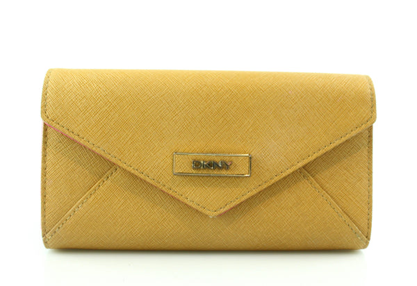 DKNY Tan/Fuschia Textured Leather Envelope Wallet