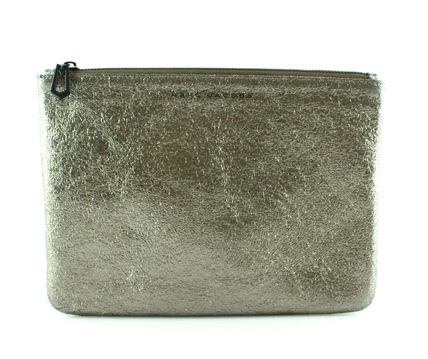 Marc Jacobs Metallic Gunmetal Large Pouch
