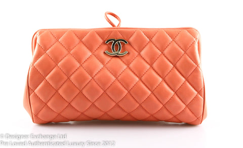 Chanel Soft Salmon Lambskin CC Quilted Clutch Runway Sample 2018