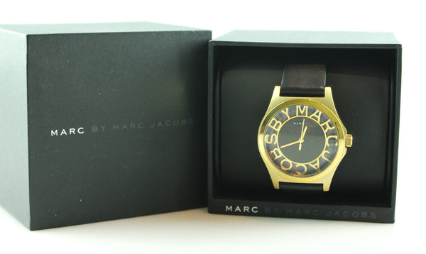 Marc Jacobs Black And Gold Henry Skeleton Watch