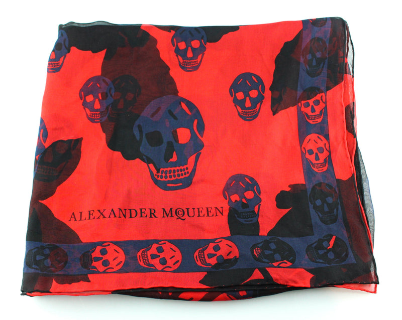 Alexander McQueen Red/Blue/Black Silk Skull Scarf