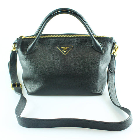 Prada Calf Leather Black Small Tote With Long Strap GH