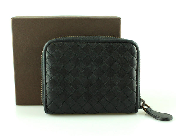 Bottega Veneta Black Intrecciato Compact Zipped Wallet
