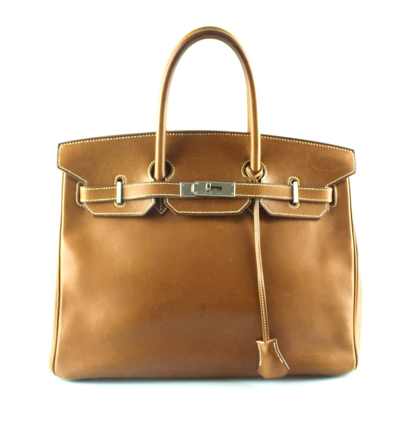 Hermes Birkin 35 Barenia Leather Brushed Palladium Leather 1999