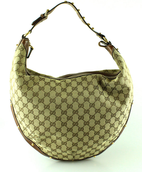Gucci GG Studded Leather Trim Hobo