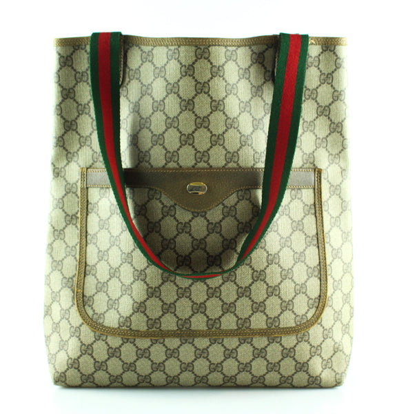 de6347d9255 Gucci Vintage GG Tote Double Web Handles – Designer Exchange Ltd