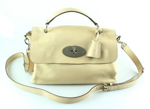 Mulberry Pebbled Beige Glossy Goat Edie Satchel