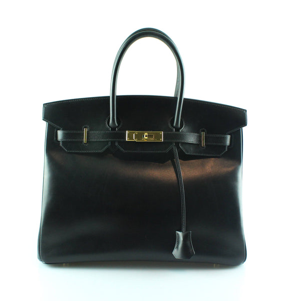 Hermes Birkin 35 Black Box Leather Gold Hardware 2003
