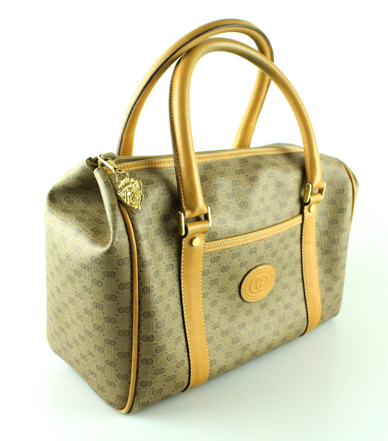 Gucci Vintage GG Boston Bag Beige