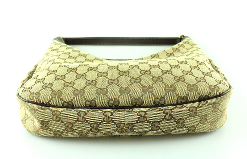 Gucci GG Canvas And Brown Leather Charmy Hobo GH