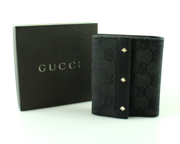Gucci Black GG Canvas and Leather Studded Compact Wallet
