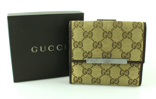 Gucci GG Canvas And Brown Leather Compact Purse GMH