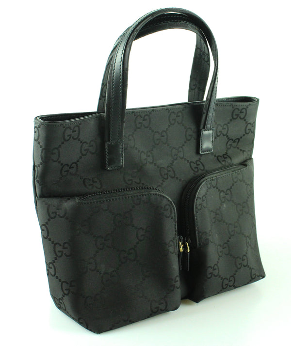 Gucci Black Nylon GG Double Pocket Small Tote