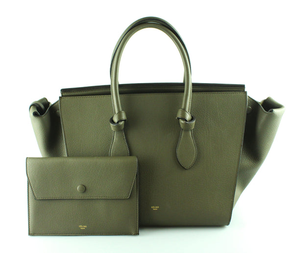 Celine Small Tie Bag In Khaki Crisped Calfskin Leather