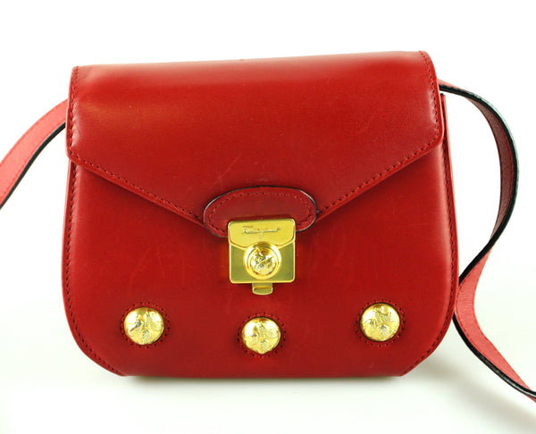 Salvatore Ferragamo Vintage Red Leather Mini Crossbody