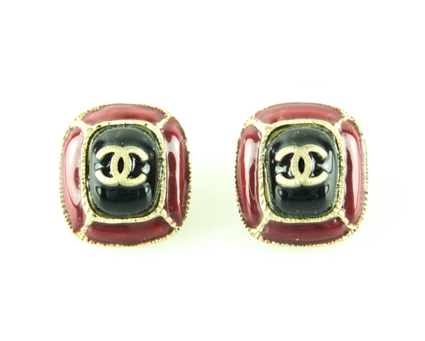 Chanel 2014 Black Enamel And Burgundy CC Earrings