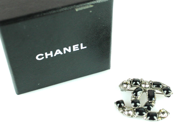 Chanel 2009 Gunmetal Diamante CC Brooch