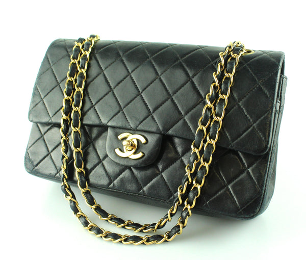 Chanel Medium Classic Double Flap Black Lambskin leather GH 2000/02