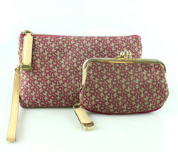 DKNY Raspberry Monogram Wristlet And Coin Purse Set
