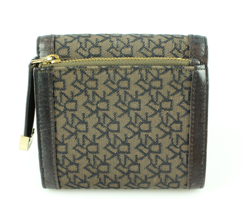 DKNY Brown Monogram Canvas/Leather Compact Wallet (2)