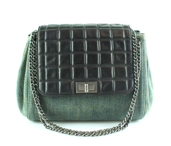 b03cd40f1067 Chanel Mademoiselle Chocco Bar Flap Lambskin And Denim Accordion Bag 2 –  Designer Exchange Ltd