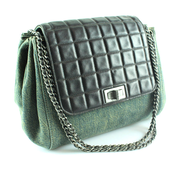 9cce8ee8d052 Chanel Mademoiselle Chocco Bar Flap Lambskin And Denim Accordion Bag 2000/02